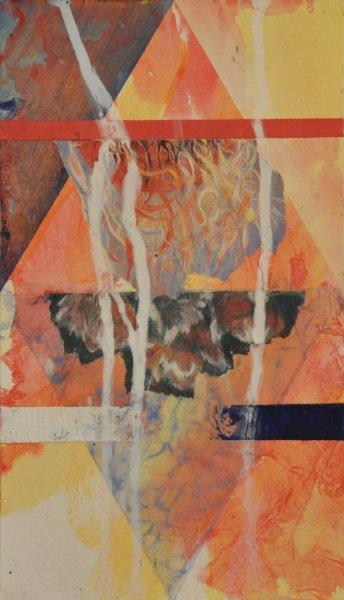 "SPIRIT WORLD, Acrylic collage on Illustration board6""h x 4""w$300.00 Cdn"