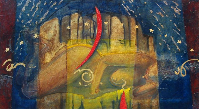 RED MOON/SLEEPER, acrylic on panel, 10 3/4 in H x 19 1/2 in. W, $1100.00