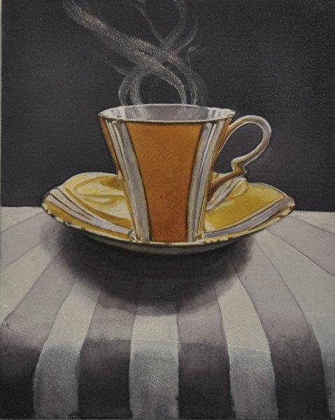 """Dark Tea 4 Gramma's Yellow, 8""""hx10""""w, watercolour on acrylic ground on  panel, $500.00"""