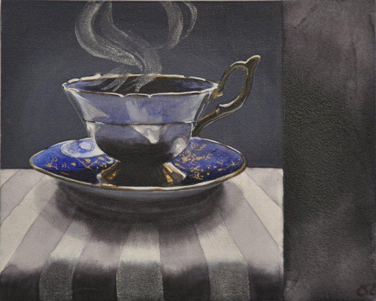"""Dark Tea 5 Gramma's Blue, 8""""has 10""""w, watercolour on acrylic ground on panel, $500.00"""