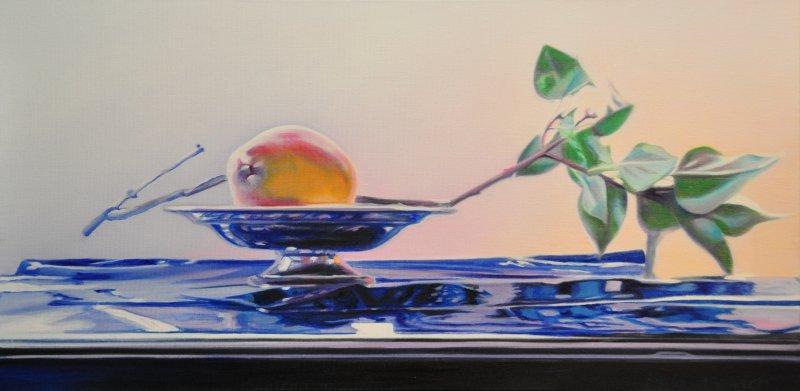 """LILAC BRANCH, 12""""h x 24""""w, oil & alkyd on canvas, framed, $1400.00Cdn"""