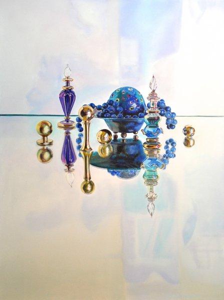 """BLUE ARABESQUE, 40""""h x 30""""w, oil& alkyd on canvas, framed, $3300.00Cdn"""