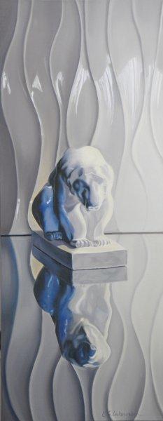 """POLAR BEAR, 32""""h x 16""""w, oil & alkyd on canvas, unframed, $1900.00Cdn"""