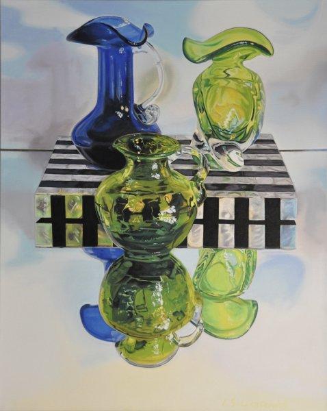 "ZOYA'S BLUE & GREEN GLASS, 30""h x 24""w, oil & alkyd on canvas, framed, $2200.00Cdn"