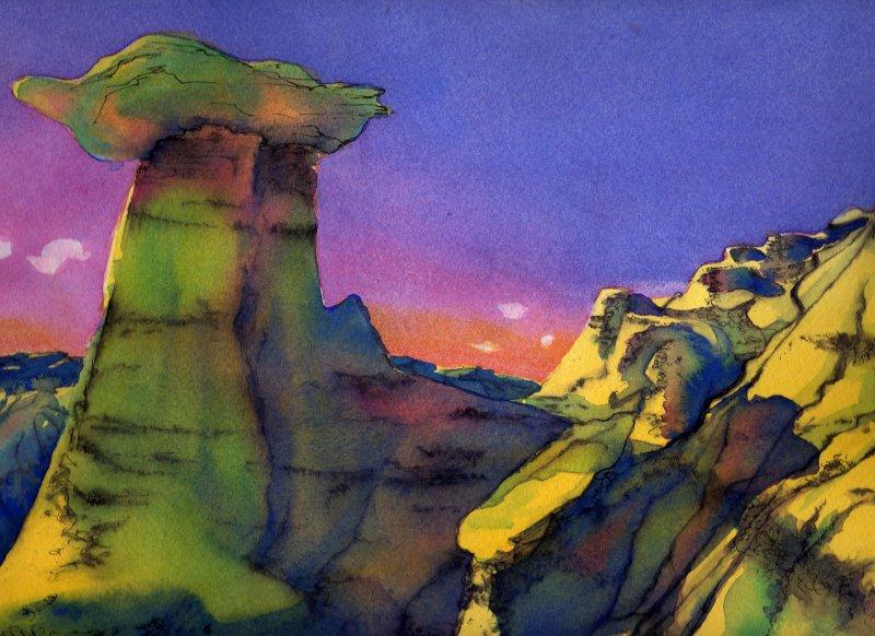 HOODOOS, watercolour on 140lb. CP, 10 1/2 IN. H X 14 IN. W