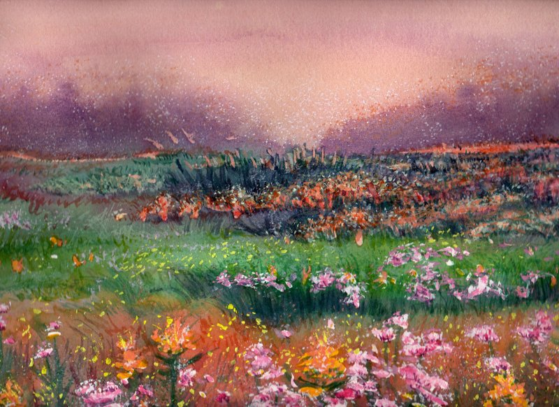 SPRING FIELD MORNING, watercolour on 140 lb. CP,10 1/2 IN. H X 14 IN. W