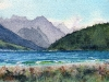 GAP LAKE, watercolour on 140 lb. CP, 5 1/2 in. H x 8 1/2 in. W