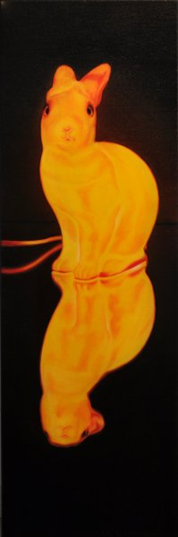 "Inner Light: Night Bunny 72, 36""h x 12""w, oil & alkyd on canvas,  $1500.00Cdn"