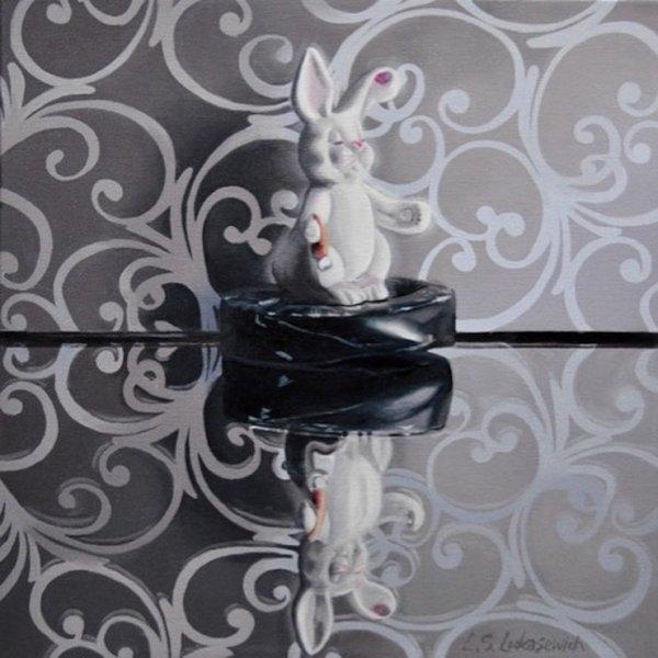 """Bunny Arabesque, Oil & Alkyd on Canvas, 16 x 16"""", $1200.00Cdn"""