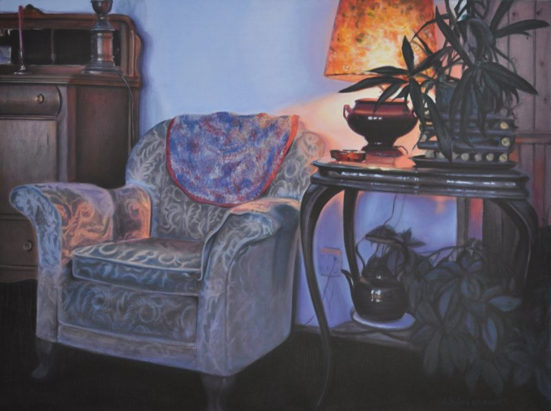 HER PERCH, oil & alkyd on canvas, 30 in. H x 40 in. W, $3300.00Cdn