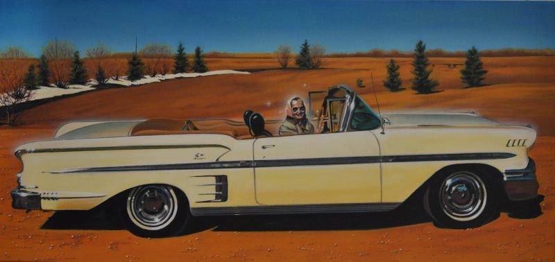 LOBELIA& MARG, oil & alkyd on canvas, 24 in. H x 48 in. W, $3300.00Cdn