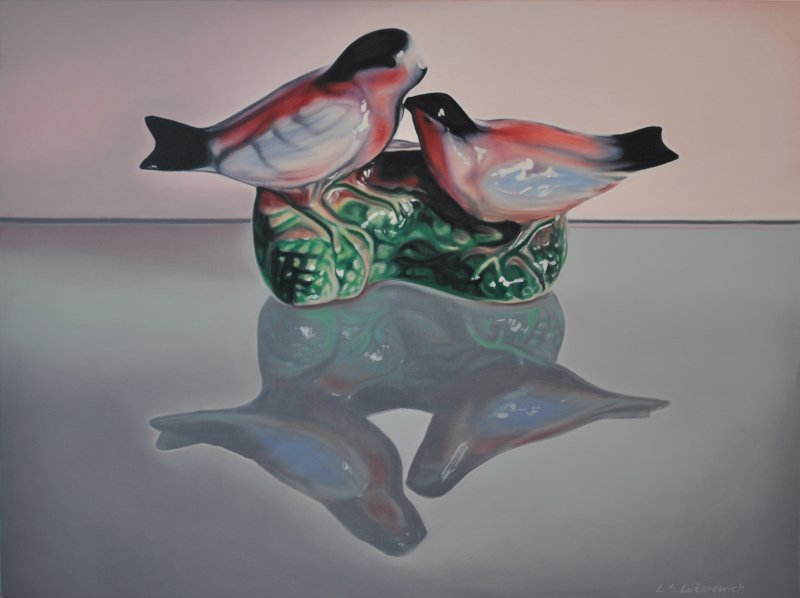 LOVEBIRDS, oil & alkyd on canvas, 30 in. H x 40 in. W, $3300.00Cdn