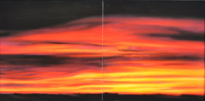 20/12/06 8:44:06am, diptych,  oil & resin on panel, 12 in. H x 24 in. W, $1250.00Cdn
