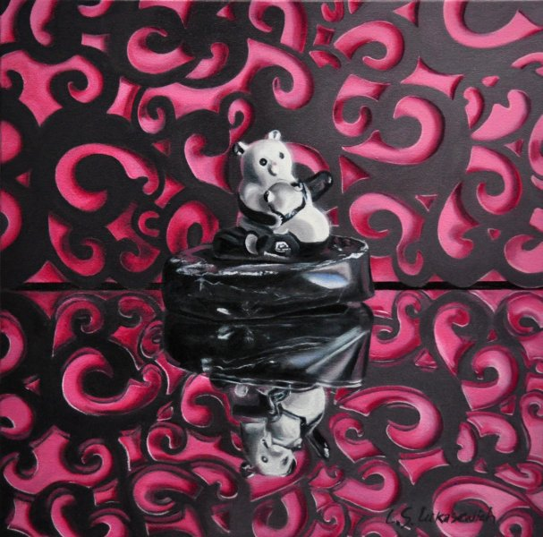 "Fancy Panda,16 x 16"", oil and alkyd on canvas , $1200.00Cdn"