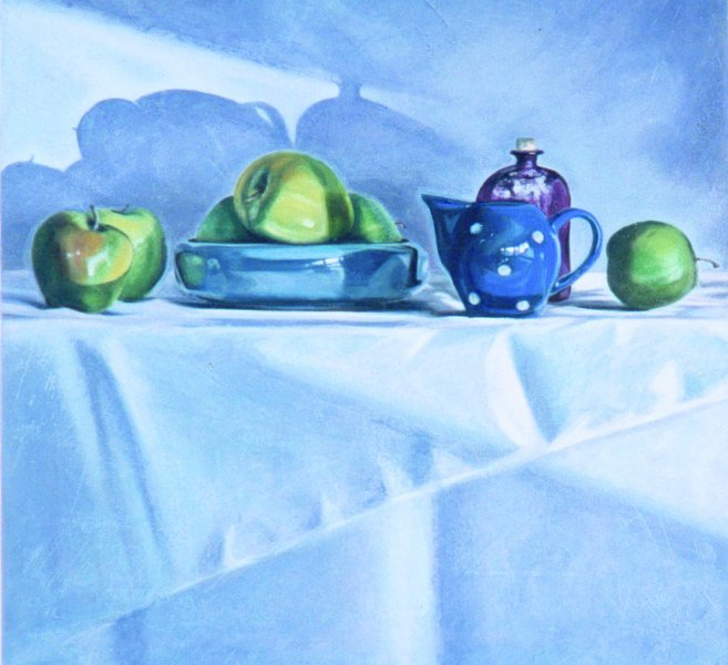 ALMA'S BLUE DISH, oil & alkyd on canvas, 24in. x 24 in., $1800.00