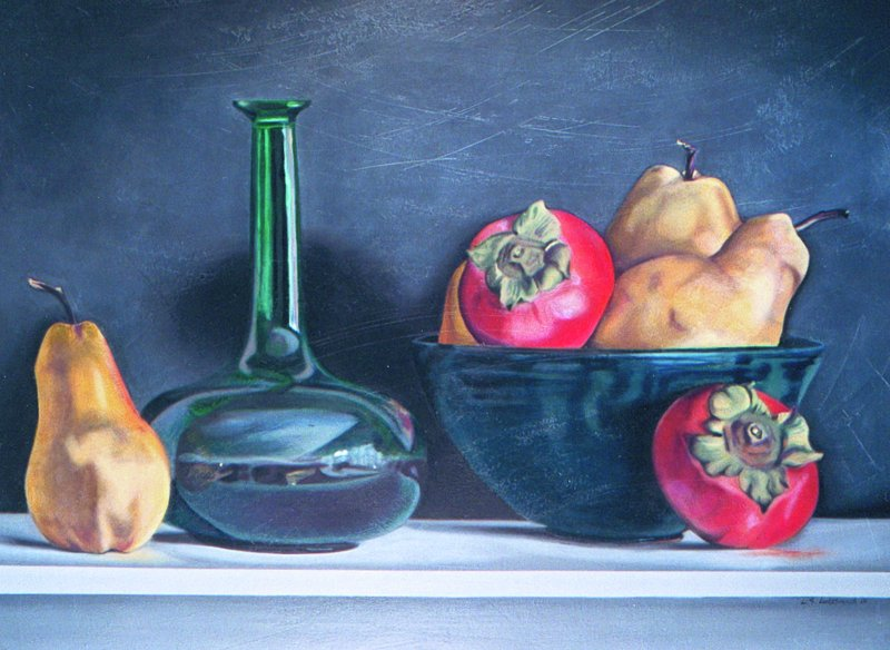 PEARS & PERSIMMONS, oil & alkyd on canvas, 28 in. H x 36 in. W, NFS