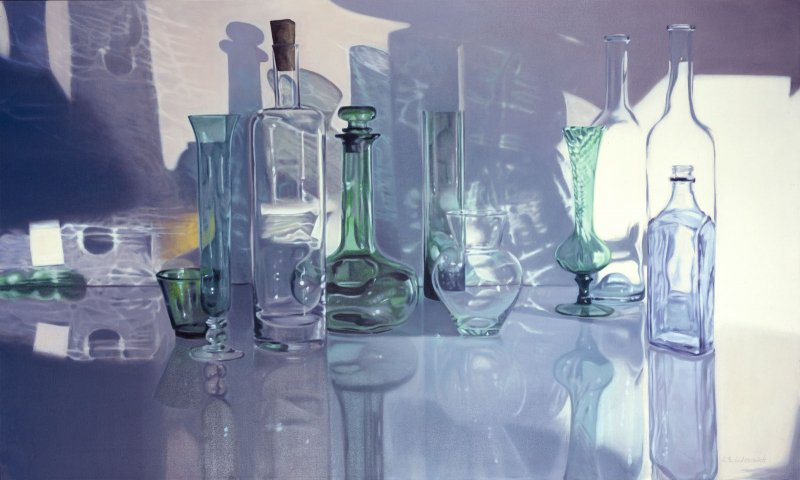 SHIMMERING: GREEN & VIOLET, oil & alkyd on canvas, 36 in. H x 60 in. W, SOLD