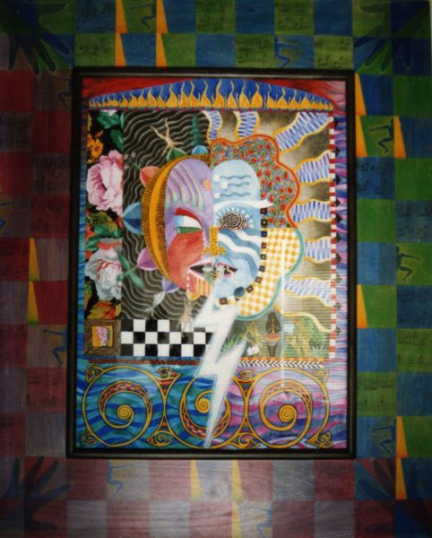 ARCHETYPE/CLOWN, watercolour on paper & acrylic on poplar, 46 5/8 in. H x 37 7/8 in. W, SOLD