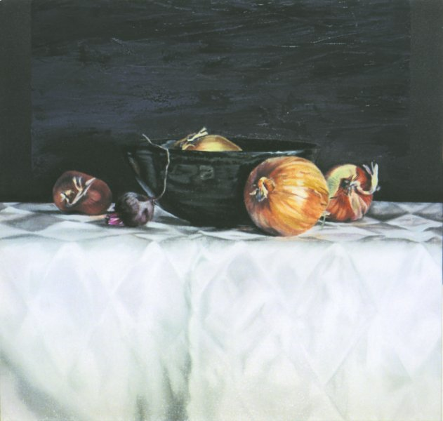 BOWL & ONIONS, oil & alkyd on canvas, 20 in. x 20 in., SOLD