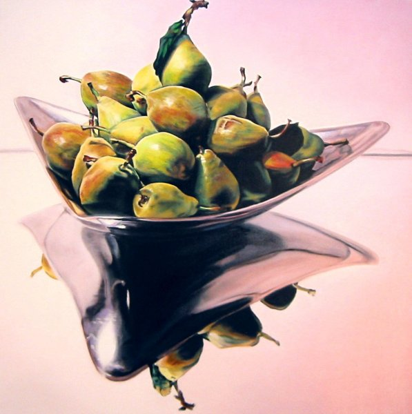 DECORATIVE PEARS, oil & alkyd on canvas, 30 in. x 30 in., SOLD