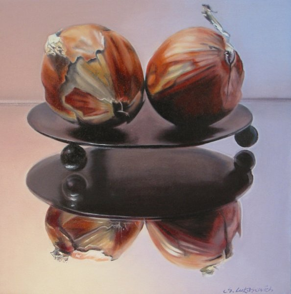 LES OIGNONS, oil & alkyd on canvas, 16 in. x 16 in., $1500.00Cdn