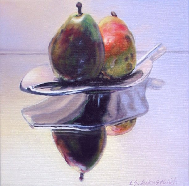 TWO PEARS, oil & alkyd on canvas, 12 in. x 12 in., SOLD