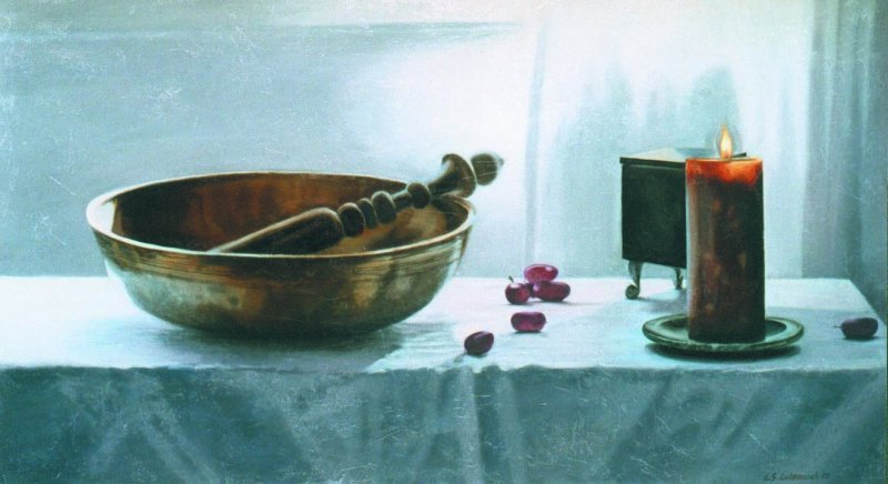 VENERABLE BOWL, oil & alkyd on canvas, 20 in. H x 36 in. X, SOLD