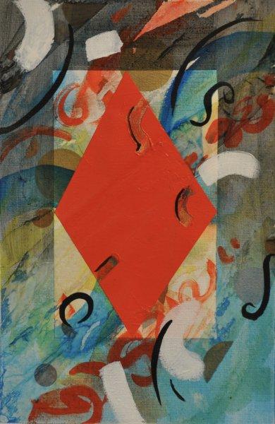 """NO GO ZONE, Acrylic on Illustration board11""""h x 17.25""""w$450.00 Cdn"""