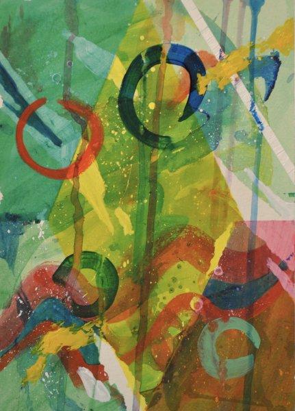"""O ZONE, Acrylic on Illustration board12""""h x 10""""w$400.00 Cdn"""