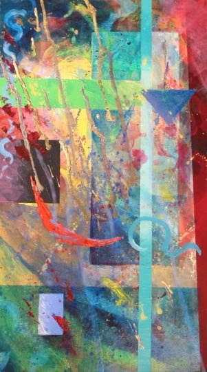 RED MOON RAIN, acrylic on panel, 19 1/2 in. H x 10 3/4 in. W, $1100.00Cdn