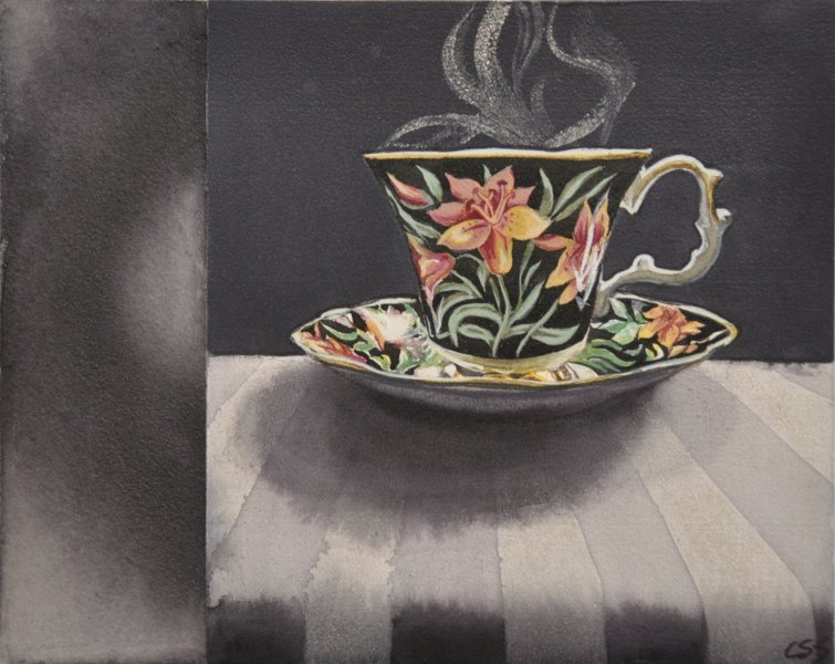 "Dark Tea 1 Royal Albert, 8""h x 10""w, watercolour on acrylic ground on panel, $500.00"