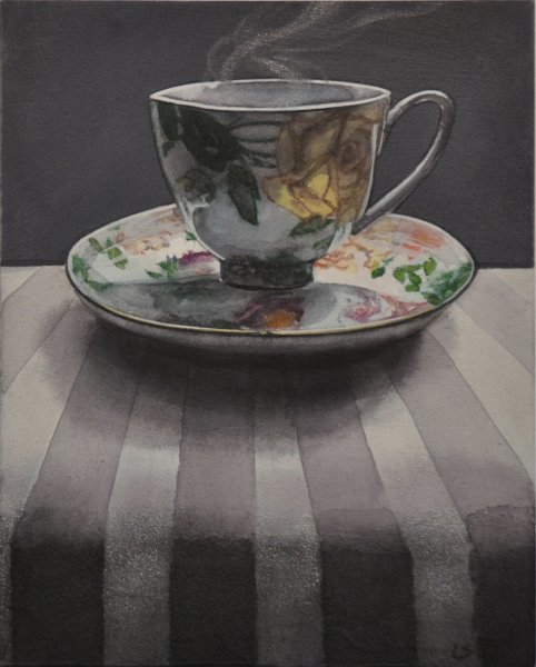 "Dark Tea  2 Single Floral, 8""hex 10""w, watercolour on acrylic ground on panel, $500.00"