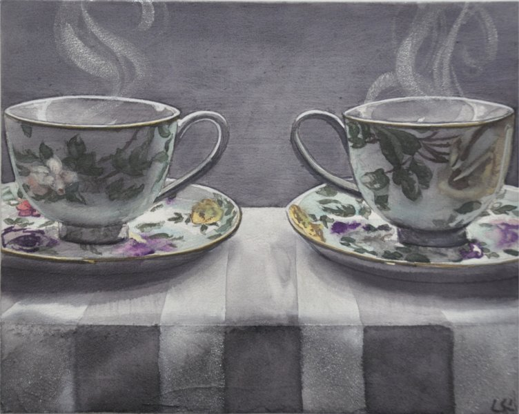 "Dark Tea 3 Double Floral, 8""hx10""w, Watercolour on acrylic ground on panel, $500.00"