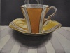 "Dark Tea 4 Gramma's Yellow, 8""hx10""w, watercolour on acrylic ground on  panel, $500.00"