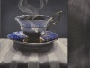 "Dark Tea 5 Gramma's Blue, 8""has 10""w, watercolour on acrylic ground on panel, $500.00"