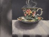"Dark Tea 1 Royal Albert, 8""h x 10""w, watercolour on acrylic ground on panel, $500.00"