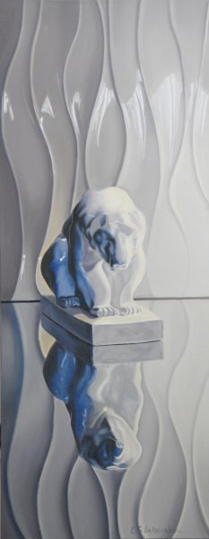 "POLAR BEAR, 32""h x 16""w, oil & alkyd on canvas, unframed, $1900.00Cdn"