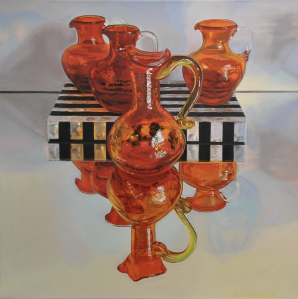 "ZOYA'S RED & ORANGE GLASS, 24 x 24"", oil & alkyd on canvas, unframed, $1900.00Cdn"