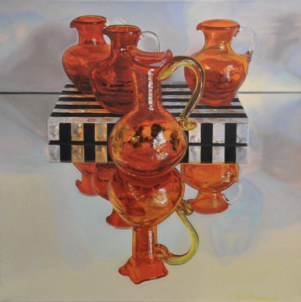 "ZOYA'S RED & ORANGE GLASS, 24 x 24"", oil & alkyd on canvas, unframed, $1900.00Cdn"