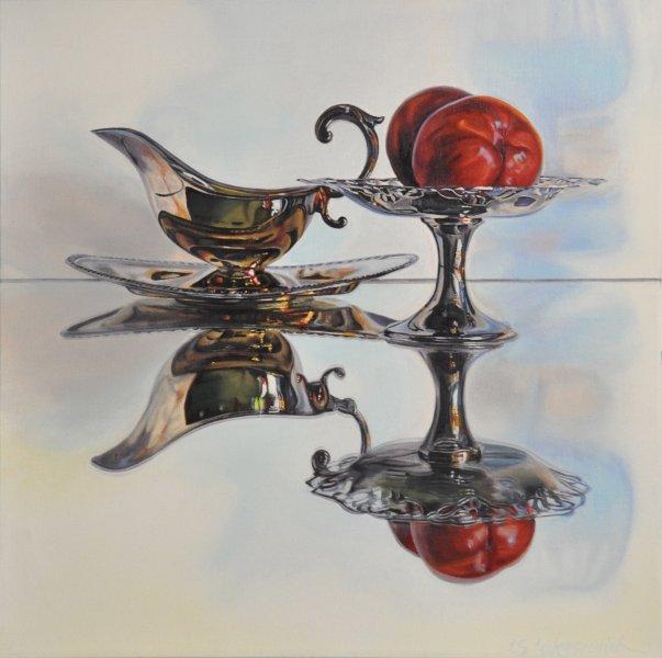 """NECTARINES, 20 x 20"""", oil & alkyd on canvas, framed, $1500.00Cdn"""