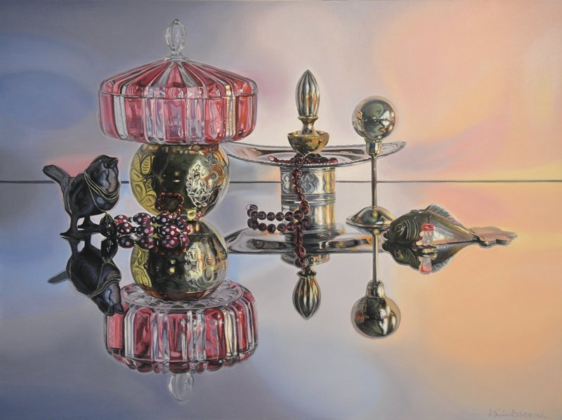 "GOLDEN BALL, 30""h x 40""w, oil & alkyd on canvas, framed, $3300.00"