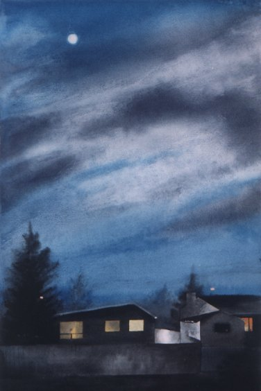 BLUE MOON NIGHT, watercolour on 140 lb. CP, 22 in. H x 15 in. W