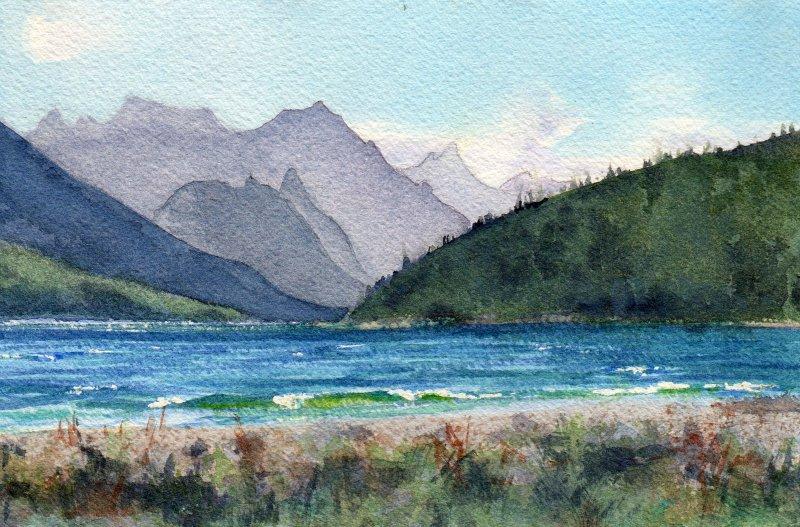 GAP LAKE, watercolour on 140 lb. CP, 5 1/2 in. H x 8 1/2 in. W