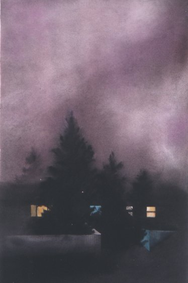 SMOKY PINK NIGHT, watercolour on 140 lb. CP, 22 in. H x 15 in. W