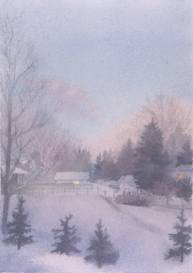 SNOWY MORNING, watercolour on 140 lb. CP, 15 in. H x 11 in. W