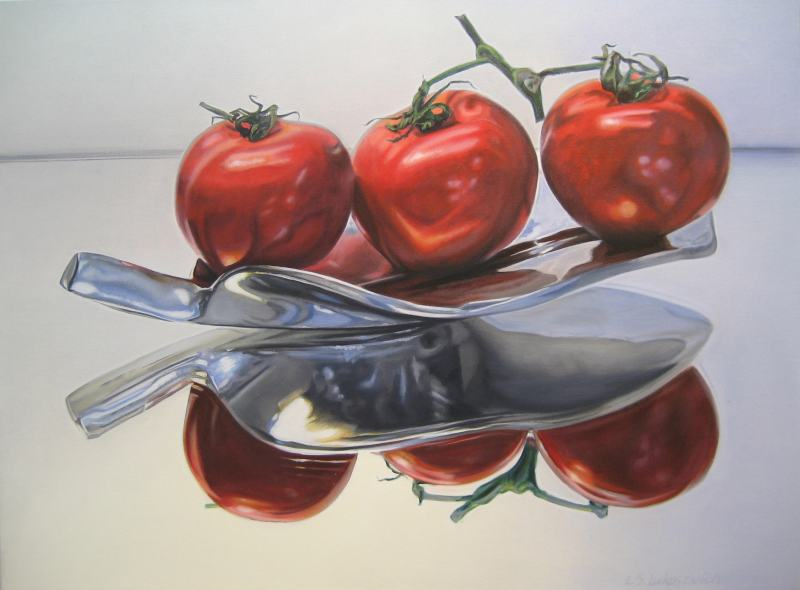 "Floating Tomatoes 300_edited-1, 30""h x 40""w, oil & alkyd on canvas, $3300.00Cdn"