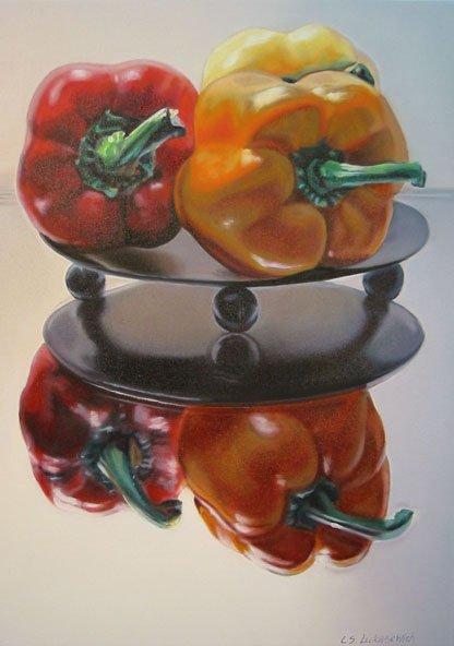 "Red Orange Yellow, 28""h x 20""w, oil & alkyd on canvas,  $2000.00Cdn"