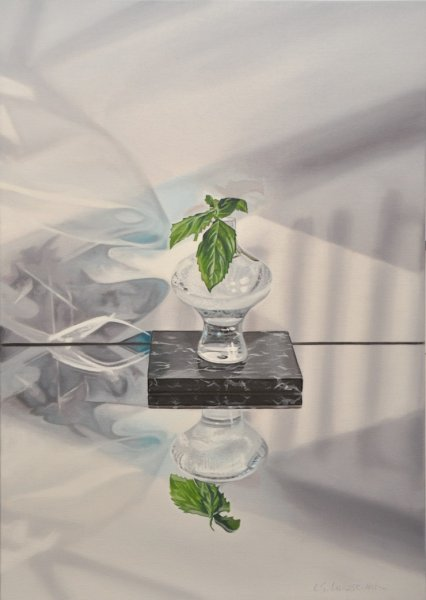 "Plant/Water/Glass/Stone, 28""h x 20""w, Oil 7 Alkyd on Canvas, $2050Cdn"