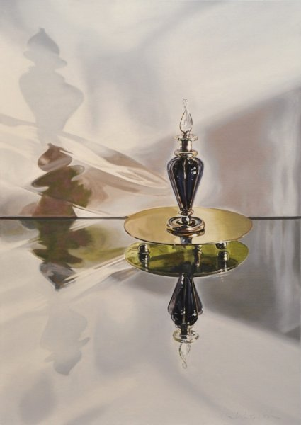 "Glass/Scent/Metal, 28""h x 20""w, Oil & Alkyd on Canvas, $2050.00Cdn"