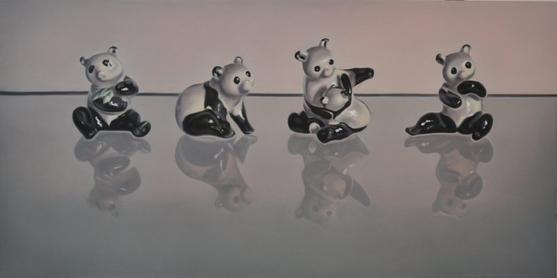 HER PANDA'S, oil & alkyd on canvas, 24 in. H x 48 in. W,$3300.00Cdn